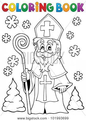 Coloring book Saint Nicolas theme 1 - eps10 vector illustration.