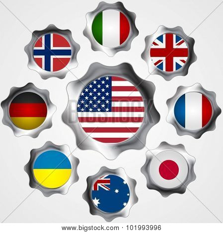 USA influence. Metal gears and flags. Vector background