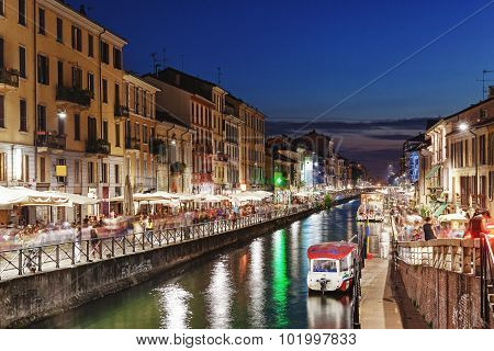 Night Scene Of The Naviglio Grande In Milan, Italy.