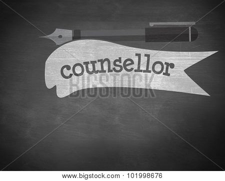 The word counsellor and fountain pen against black background