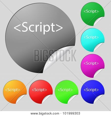 Script Sign Icon. Javascript Code Symbol. Set Of Eight Multi Colored Round Buttons, Stickers. Vector