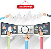 Price movement. Stock exchange rates on monitor. Profit graph diagram. Electronic stock numbers. Profit gain. Business stock exchange. Live online screen. Concept on white background in flat design poster