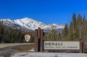 Denali National Park and Preserve sign with snow mountain as background poster