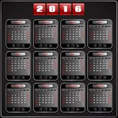 Calendar 2015 vector Sunday first american week 12 months, techno gadget digital style poster