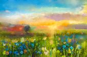 Oil painting flowers dandelion cornflower daisy in fields. Sunset meadow landscape with wildflower hill and sky in orange and blue color background. Hand Paint summer floral Impressionist style poster