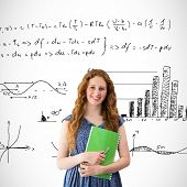 Happy student against maths equations poster