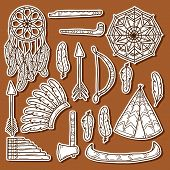 Set of cartoon hand drawn stickers on native american theme: tomahawk, feather, canoe, bow, arrow, hat, mandala, flute, pipe, dreamcatcher. Native american concept for your design poster