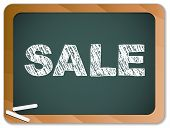 Vector - Sale written on blackboard with chalk. poster