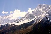 The Thorong La the high pass on the Annapurna Circuit in Nepal Asia poster
