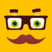 Vector Hipster Avatar With Geek Glasses And Mustache. Geek Face. Cartoon Character App Icon In Flat Style. Geek Avatar. Vector Illustration. Hipster Character Portrait. poster