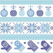Scandinavian Nordic seamless Christmas pattern with Xmas baubles, gloves, stars, snowflakes, Xmas ornaments, snow element, hearts in three shades of blue cross stitch Scandinavian Nordic seamless Christmas pattern with Xmas baubles, gloves, stars, snowfla poster
