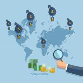 Online money transfer transactions concept financing cash investment global business flat vector poster