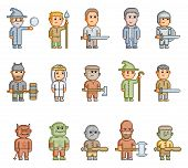 Pixel fantasy heroes for 8 bit video game and design poster