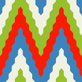 Seamless geometric pattern with colorful zig zag in red blue and green colors poster