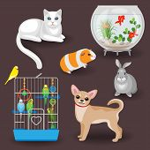 Set of pets and other animal companions. Cat dog rabbit guinea pig budgies in the cage and aquarium with fishes on dark background. poster