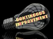 Continuous Improvement - lightbulb on black background with text in it. 3d render illustration. poster