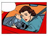 female driver offending transport traffic rules retro style pop art poster