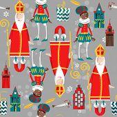 Christmas in Holland. Sinterklaas and Zwarte Piet. Seamless background pattern.Vector illustration poster