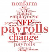 Non-farm employment change payrolls or NFP. One of the most important macroeconomic indicator from US job market released monthly. poster