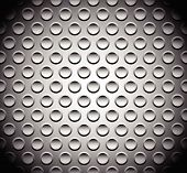 Abstract perforated metal surface / sheet. Studded punctured metal. Dimples background. poster