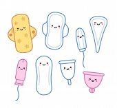 Set of hand drawn feminine hygiene products with cute faces. Pads and tampons pantyliners and menstrual cups in adorable cartoon style. poster