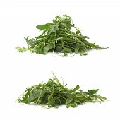 Pile of eruca sativa rucola arugula fresh green rocket salad leaves, composition isolated over the white background, set of two different foreshortenings poster
