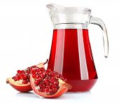 Glass jug of fresh pomegranate juice isolated on white poster
