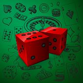 Hand drawn Casino icons set with dice game and with a hand of aces playing cards, dice, roulette board, casino chips or tokens and lucky number 777 poster
