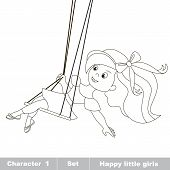 One little baby girl swinging on a swing. Character from set HAPPY LITTLE GIRLS. Page to be color. poster