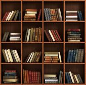 Library bookshelf full of book Book on the wood shelf. poster