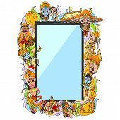 vector illustration of Happy Dussehra doodle drawing for mobile application poster