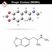 Ecstasy recreational drug structure, mdma chemical molecular formulas, 2d & 3d vector isolated on white background, eps 8 poster