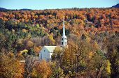 Stowe Community Church and Fall Foliage in Town of Stowe, Vermont, USA poster