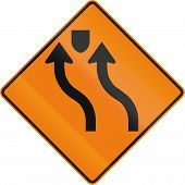 Canadian road warning sign - Two lane reverse Curve With Median. This sign is used in Quebec. poster