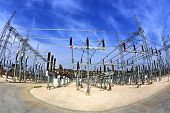 High voltage switchyard in electrical substation in fisheye perspective poster