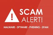 SCAM Alert concept - white letters and triangle with exclamation mark poster