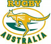 """illustration of a kangaroo or wallaby jumping side view with australian flag inside silhouette and rugby ball in background with words """"rugby Australia"""" poster"""