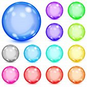 Set of multicolored opaque spheres with glares and shadows poster