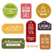 Set of colored autumn labels or coupons. Spring discounts, promotions, offers. Vector. Place for your text poster