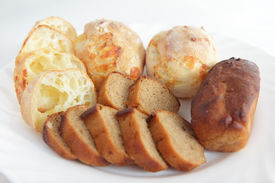 Fresh baking homemade cheesy bread and rye bread