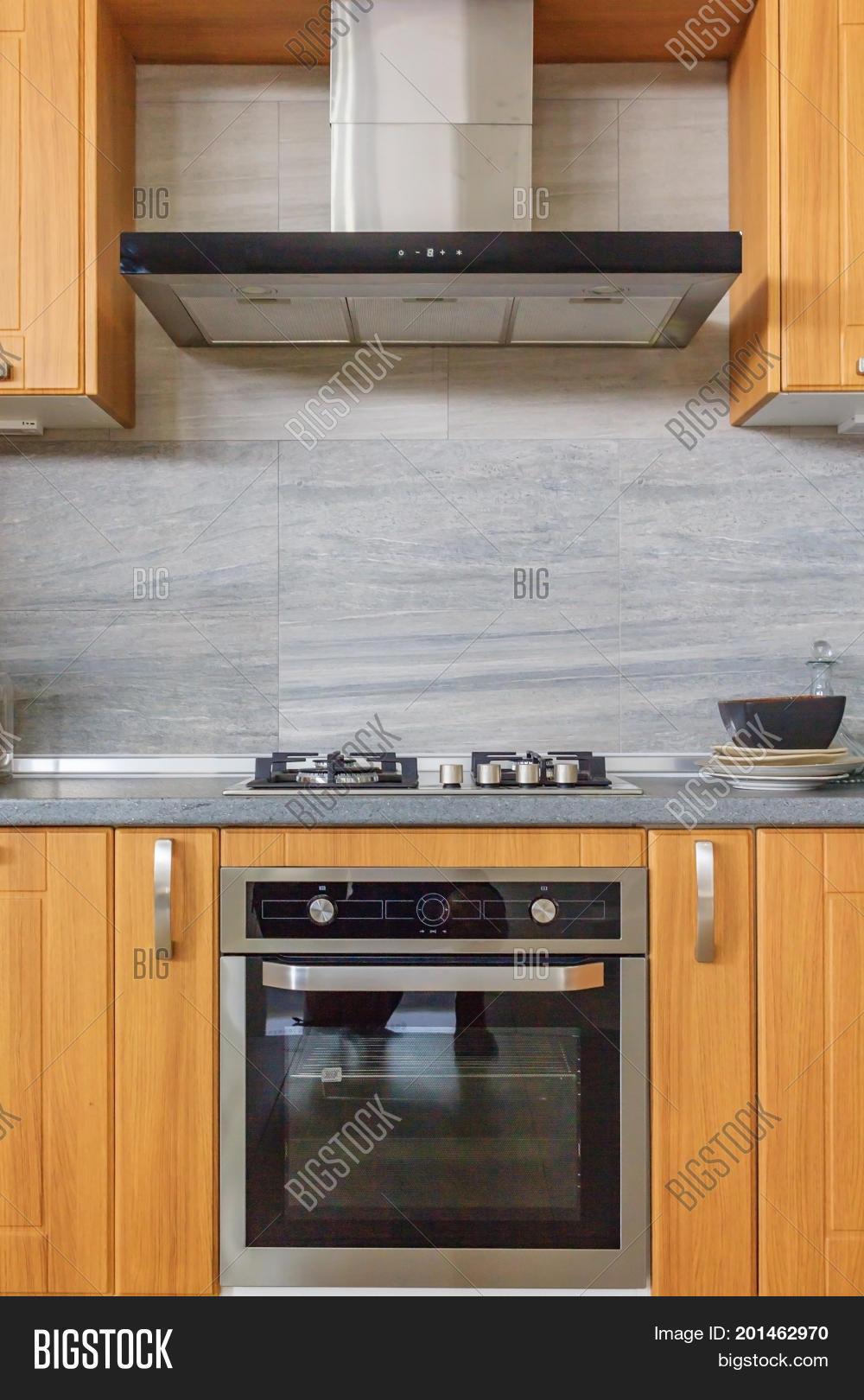 Modern home interior modern design of the kitchen in a bright interior kitchen wood