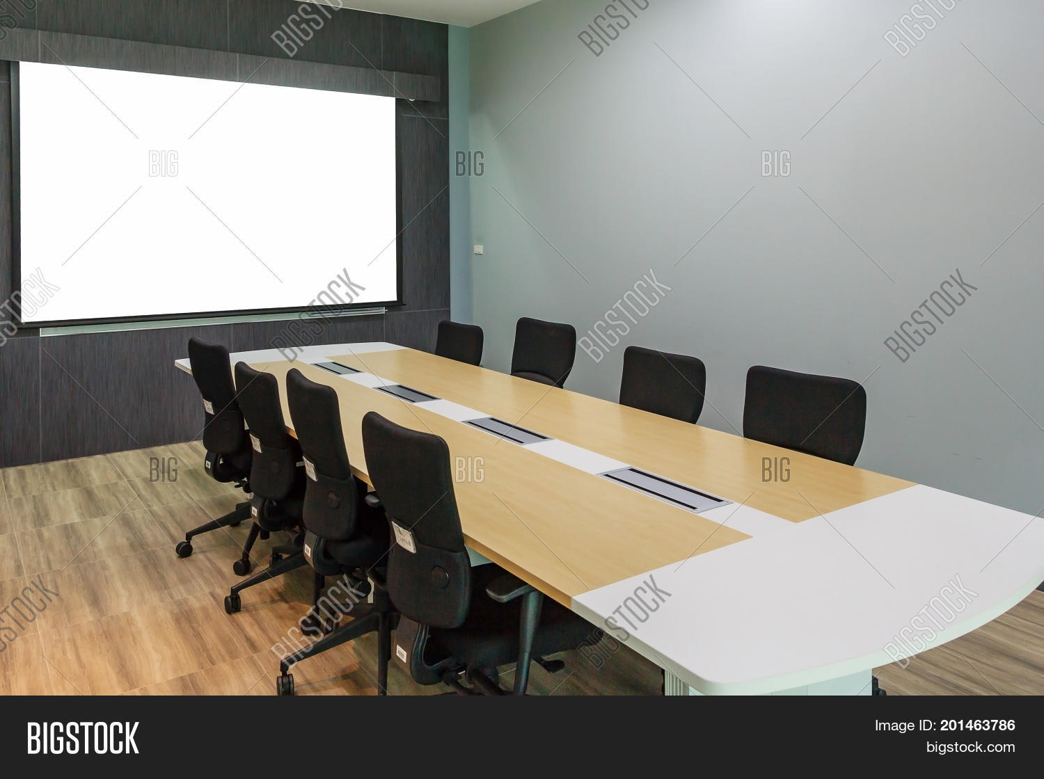 Blank Projection Screen In Meeting Room With Conference Table Modern Interior Background