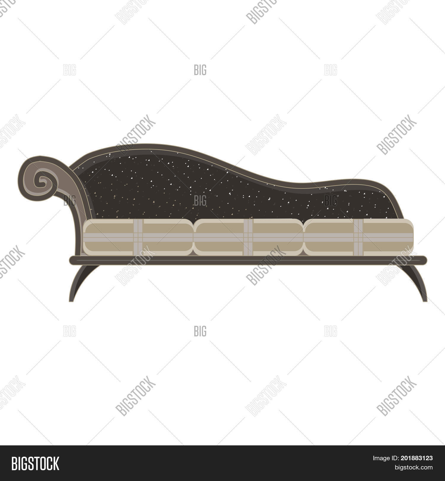 sports shoes c45da 42db3 Vector classic sofa icon front view isolated. Luxury furniture design flat retro  style antique apartment