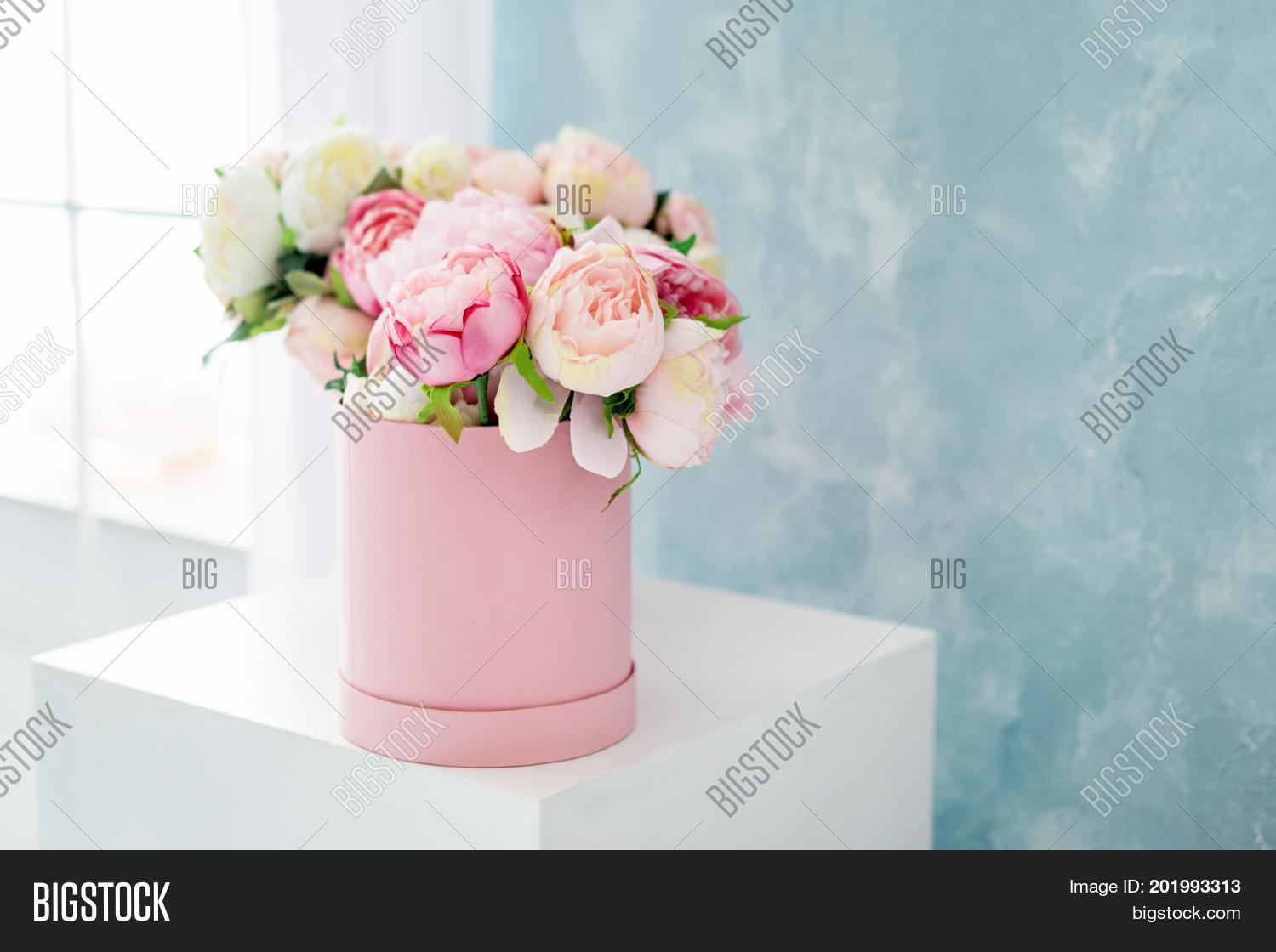 Flowers round luxury image photo free trial bigstock flowers in round luxury present box bouquet of pink and white peonies in paper box izmirmasajfo