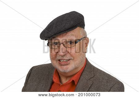 Portrait from casual senior with glasses on bright background