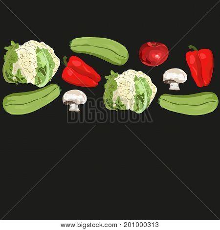 Vector. Hand drawn realistic vegetables. Template. Tomato squash champignon red pepper cauliflower. Black background.
