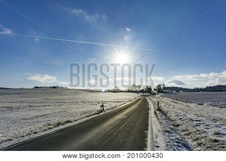 Beautiful Winter Landscape with sunshine  in Germany Hessen