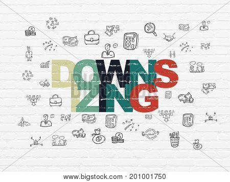Business concept: Painted multicolor text Downsizing on White Brick wall background with  Hand Drawn Business Icons