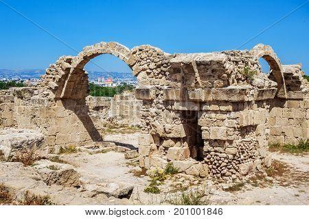 Ruins of ancient greek temple, Saranda Kolones. Archaeological park at Kato Paphos. Paphos, Cyprus