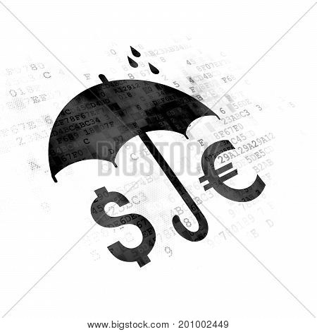 Safety concept: Pixelated black Money And Umbrella icon on Digital background